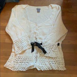 Ann Taylor Cream Sweater with Ribbon Tie waist